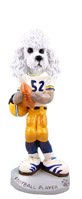 Poodle White w/Sport Cut Football Player Doogie Collectable Figurine