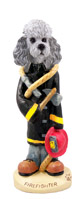 Poodle Gray w/Sport Cut Fireman Doogie Collectable Figurine
