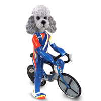 Poodle Gray w/Sport Cut Bicycle Doogie Collectable Figurine