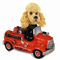 Poodle Apricot Fire Engine Doogie Collectable Figurine