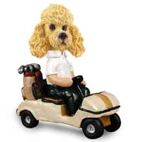 Poodle Apricot Golf Cart Doogie Collectable Figurine