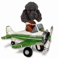 Poodle Black w/Sport Cut Airplane Doogie Collectable Figurine