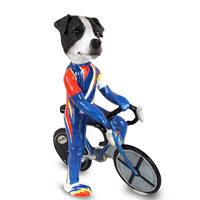 Jack Russell Terrier Black & White w/Smooth Coat Bicycle Doogie Collectable Figurine