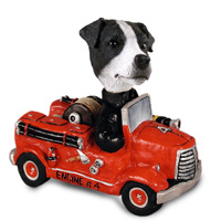 Jack Russell Terrier Black & White w/Smooth Coat Fire Engine Doogie Collectable Figurine