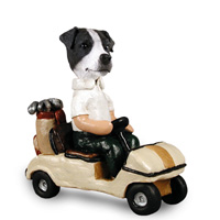 Jack Russell Terrier Black & White w/Smooth Coat Golf Cart Doogie Collectable Figurine