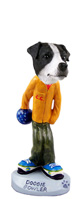 Jack Russell Terrier Black & White w/Smooth Coat Bowler Doogie Collectable Figurine