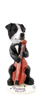 Jack Russell Terrier Black & White w/Smooth Coat Cellist Doogie Collectable Figurine