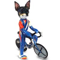 Rat Terrier Bicycle Doogie Collectable Figurine