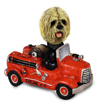 Lhasa Apso Blonde Fire Engine Doogie Collectable Figurine