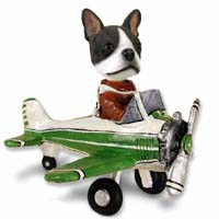 Boston Terrier Airplane Doogie Collectable Figurine