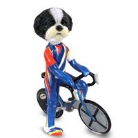 Shih Tzu Black & White w/Sport Cut Bicycle Doogie Collectable Figurine