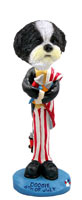 Shih Tzu Black & White w/Sport Cut 4th of July Doogie Collectable Figurine