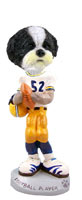 Shih Tzu Black & White w/Sport Cut Football Player Doogie Collectable Figurine