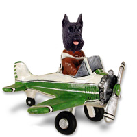 Schnauzer Black Airplane Doogie Collectable Figurine