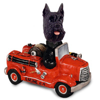 Schnauzer Black Fire Engine Doogie Collectable Figurine
