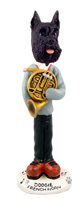 Schnauzer Black French Horn Doogie Collectable Figurine