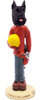 Schnauzer Black Construction Worker Doogie Collectable Figurine