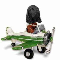 Cocker Spaniel Black Airplane Doogie Collectable Figurine