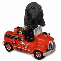 Cocker Spaniel Black Fire Engine Doogie Collectable Figurine