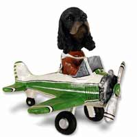 Cocker Spaniel Black & Tan Airplane Doogie Collectable Figurine