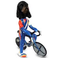 Cocker Spaniel Black & Tan Bicycle Doogie Collectable Figurine