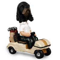 Cocker Spaniel Black & Tan Golf Cart Doogie Collectable Figurine