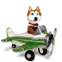 Husky Red & White w/Blue Eyes Airplane Doogie Collectable Figurine