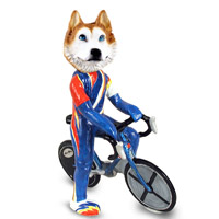 Husky Red & White w/Blue Eyes Bicycle Doogie Collectable Figurine