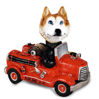 Husky Red & White w/Blue Eyes Fire Engine Doogie Collectable Figurine