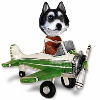 Husky Black & White w/Blue Eyes Airplane Doogie Collectable Figurine