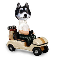Husky Black & White w/Blue Eyes Golf Cart Doogie Collectable Figurine