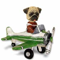 Pug Brown Airplane Doogie Collectable Figurine