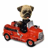 Pug Brown Fire Engine Doogie Collectable Figurine