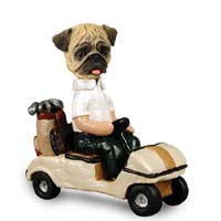 Pug Brown Golf Cart Doogie Collectable Figurine