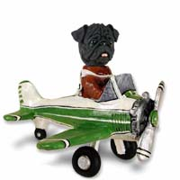 Pug Black Airplane Doogie Collectable Figurine