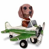 Dachshund Red Airplane Doogie Collectable Figurine