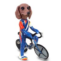 Dachshund Red Bicycle Doogie Collectable Figurine