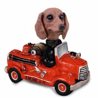 Dachshund Red Fire Engine Doogie Collectable Figurine