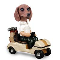 Dachshund Red Golf Cart Doogie Collectable Figurine