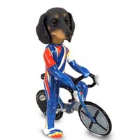Dachshund Black Bicycle Doogie Collectable Figurine