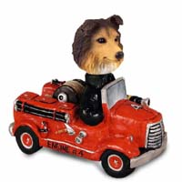 Sheltie Sable Fire Engine Doogie Collectable Figurine