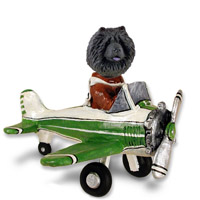 Chow Black Airplane Doogie Collectable Figurine