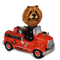 Chow Red Fire Engine Doogie Collectable Figurine