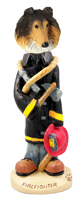 Collie Sable Fireman Doogie Collectable Figurine