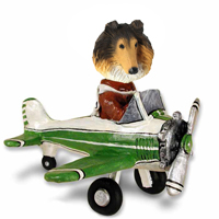 Collie Sable Airplane Doogie Collectable Figurine