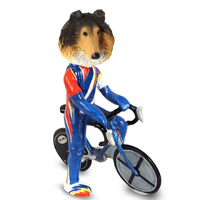 Collie Sable Bicycle Doogie Collectable Figurine
