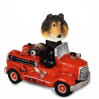 Collie Sable Fire Engine Doogie Collectable Figurine
