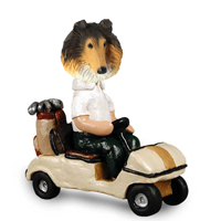 Collie Sable Golf Cart Doogie Collectable Figurine