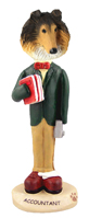 Collie Sable Accountant Doogie Collectable Figurine