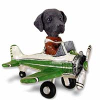 Labrador Retriever Black Airplane Doogie Collectable Figurine